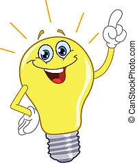 dessin animé, lumière, ampoule