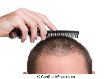 Recruit hair - Crew haircut - head, hand and comb