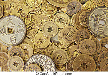 Chinese Coins in a Pile as Background