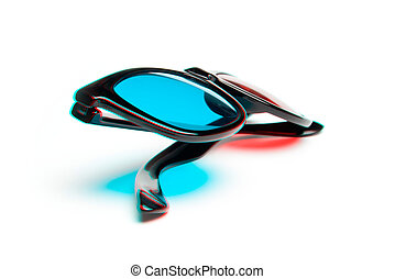Stereoscopic 3-D glasses - Stereoscopic photo of 3-D red,...