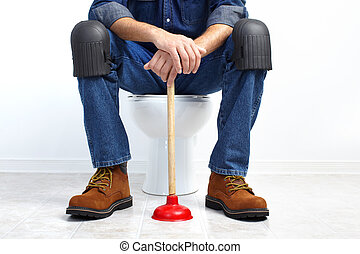 Plumber with a plunger - Plumber with a toilet plunger