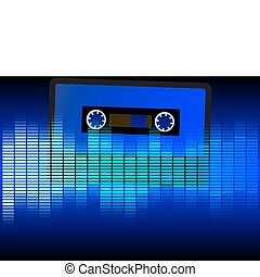Party Background - Retro Audio Casette Tape and Blue...