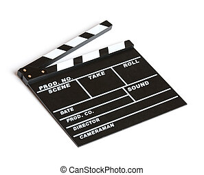 Film Slate - Open film slate (clapboard) on white background