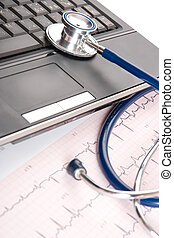 Doctor workplace - medical concept - Part of stethoscope,...