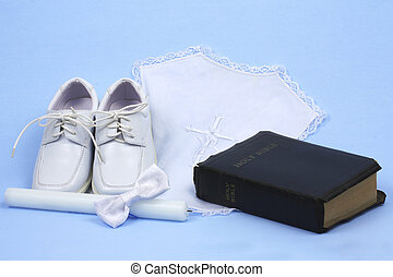 Baptism - Religious baptism items, candle, shoes, bow tie,...