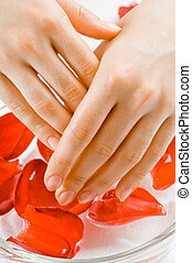 spa - closeup of woman hands with spa flowers