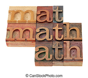 math word abstract in letterpress type - math word abstract...