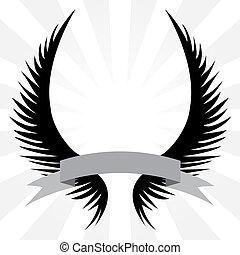 gótico, asas, crista