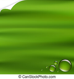 Green Background With Drops With Corner, Vector Illustration
