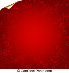 Red Background With Pattern And Gold Corner - Valentines Day...