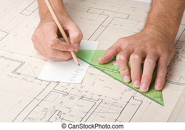 Architect with blueprint - Architect calculate dimensions on...