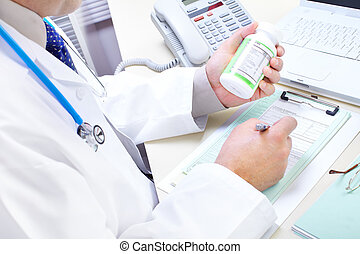 Doctor - Medical doctor pharmacist working in the office