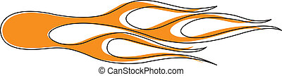 Flames Pinstriped Vector Clip Art.