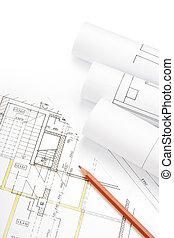Blueprints - Studio shot of architecture blueprints