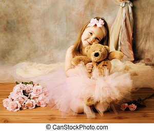 Little ballerina beauty - Adorable little girl dressed as a...