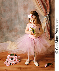 Little ballerina beauty holding a pink rose - Adorable...