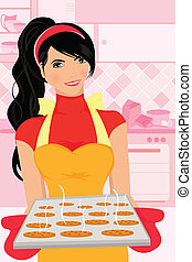 Baking woman - A vector illustration of a woman baking...