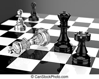 Checkmate with black and white board and glass pieces