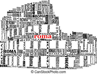 colosseo - abstract colosseo with words Roma in black and...