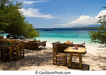 Bar at island beach of Gili Meno, Gili Islands