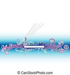 Urban scene I - Urban scene banner with swirls and central...