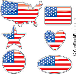 USA placards - Various shapes with the Usa flag inside the...