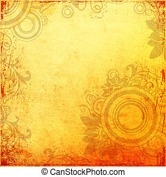 Grunge orange background - Grunge orange flowers background...