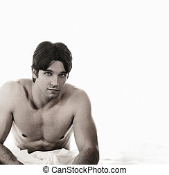 Shirtless Guy - Portrait of young attractive shirtless guy...