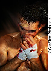 Sexy Boxer Moving - Gritty portrait of a sexy young, bloody...