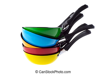 Colorful frying pans - Many stacked colorful frying pans...