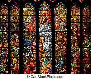 Stained Glass - Stained glass depicting Jesus teaching