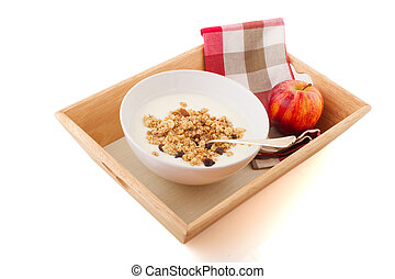 Diet breakfast - diet breakfast with yogurt muesli and a red...