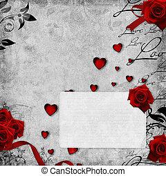 romanticos, vindima, cartão, vermelho, rosas, texto,...