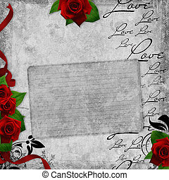 Romantic vintage card with red roses and text love (1 of...