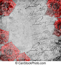 Romantic vintage background in scrapbooking style (1 of set)...