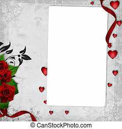 Romantic vintage background with red roses and hearts 1 of...