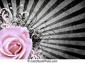 Grunge background with rose - Grunge retro background with...