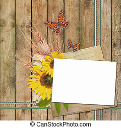 Card for invitation or congratulation with sunflowers and...