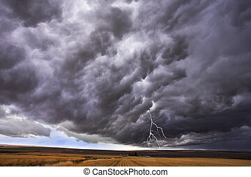 The thundercloud and lightning above boundless plain in...
