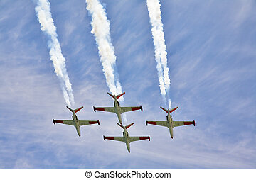 Planes on air parade - Four magnificent planes on air parade...