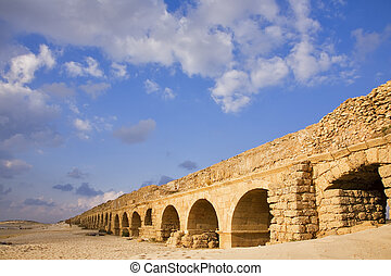 Aqueduct of the Roman period at coast sea - Perfectly kept...