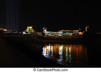 Dhow at night in Doha Qatar