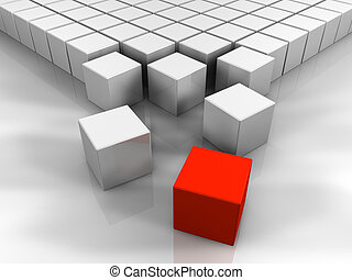 3D Red Cube - Many white cubes and one red, abstract...