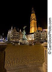 Grote Markt Antwerp Night Brabo Onze Lieve Church - Grote...
