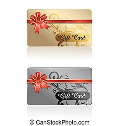 gift card with ribbon - illustration of gift card with...