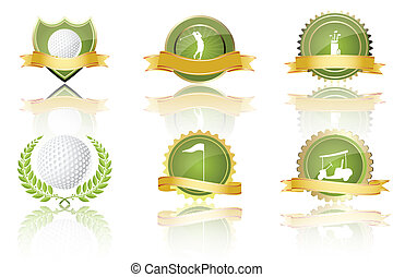 golf prizes - illustration of golf prizes on white...