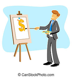 businessman with dollar drawing