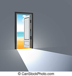 open door - illustration of open door with sky
