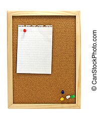 Pinboard - Notice board - A wooden pin board & blank note...