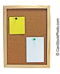 Pinboard - Notice board - A wooden pin board & blank notes...